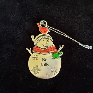 Pewter Snowman Engraved Christmas Ornament